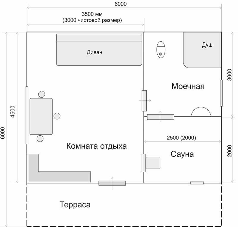 Дом-баня 6м*4.5м, планировка