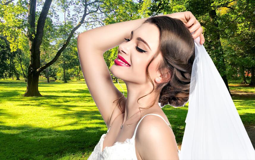 Невеста в парке